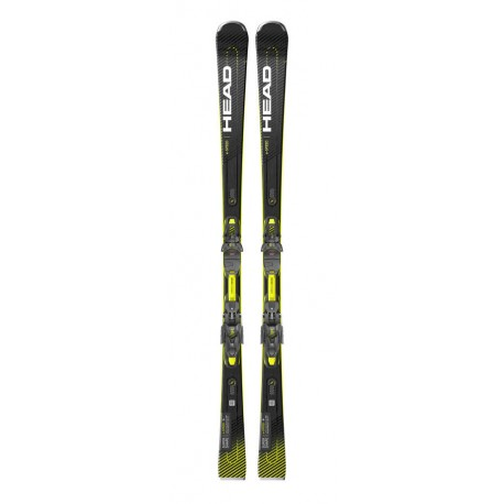 HEAD SKI Supershape E-Speed + PRD 12 GW (2021)-Μαύρο-κίτρινο