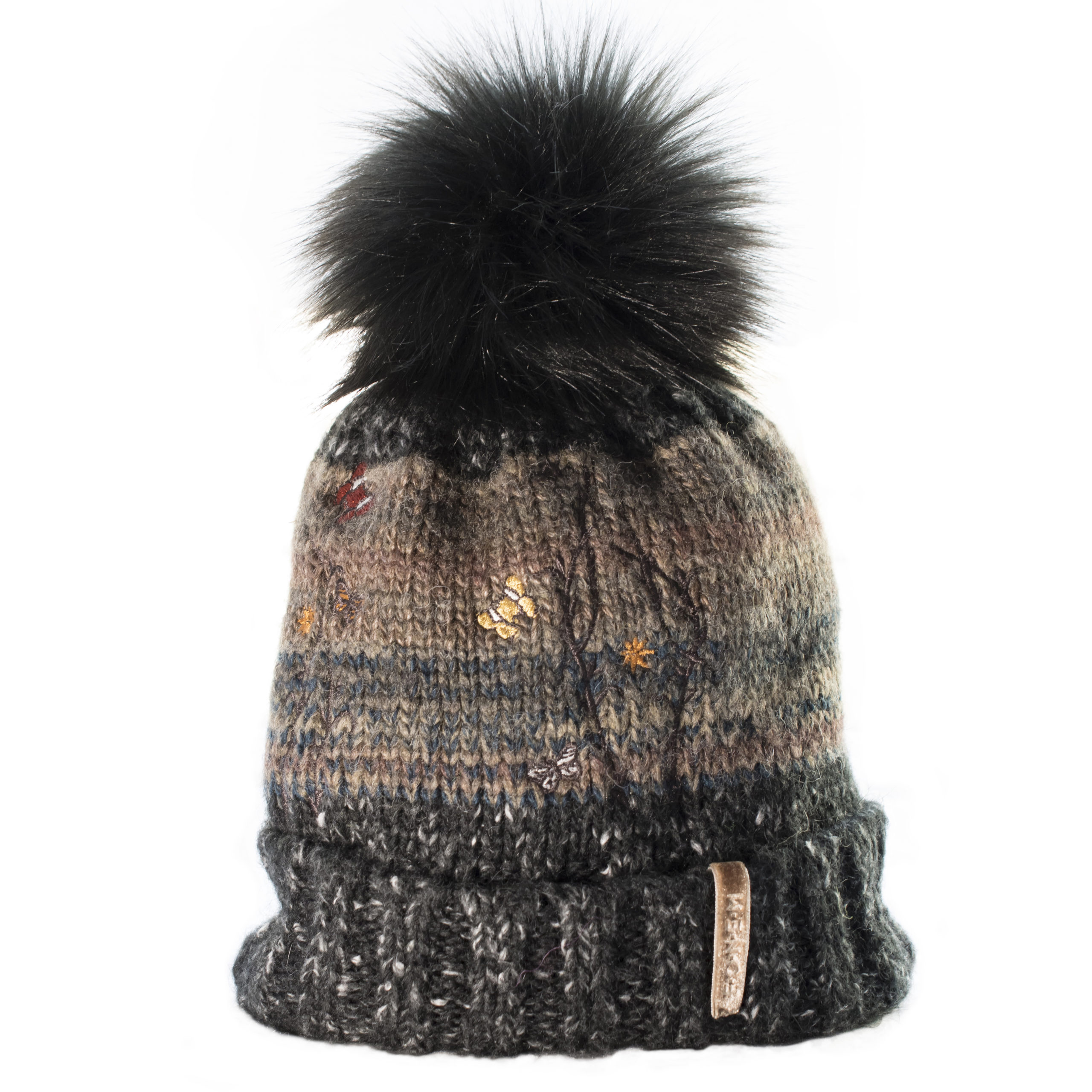 KNITTED BEANIE WITH FUR- BROWN