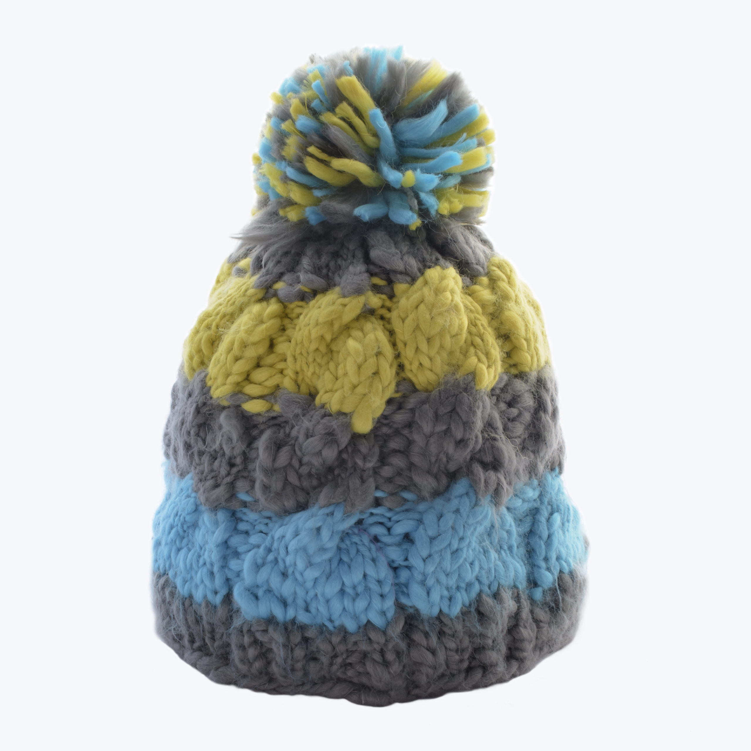 KID'S KNITTED BEANIE-GREY/BLUE
