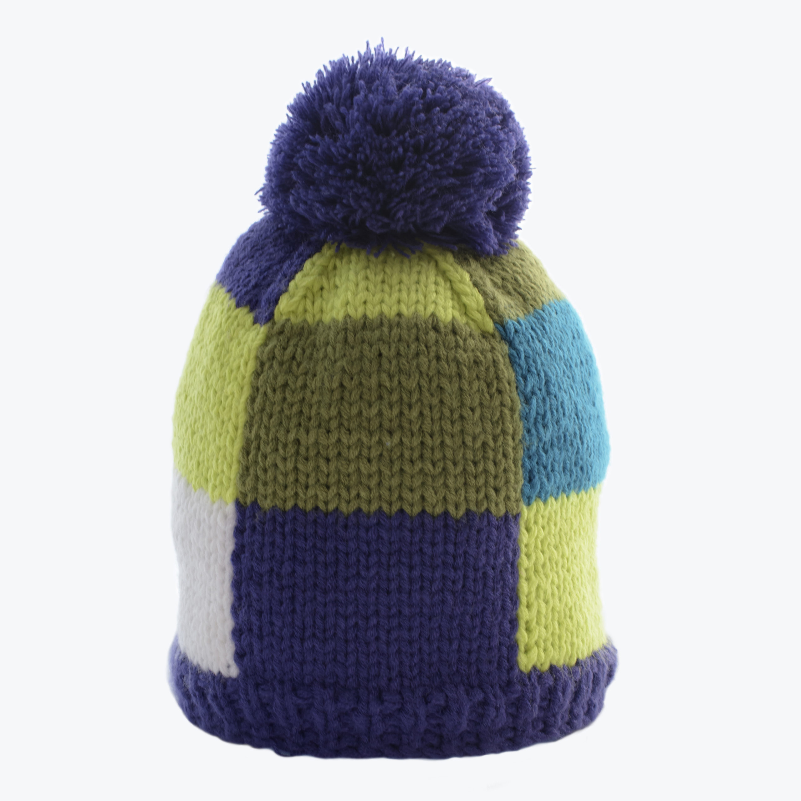 KID'S KNITTED BEANIE-BLUE/GREEN