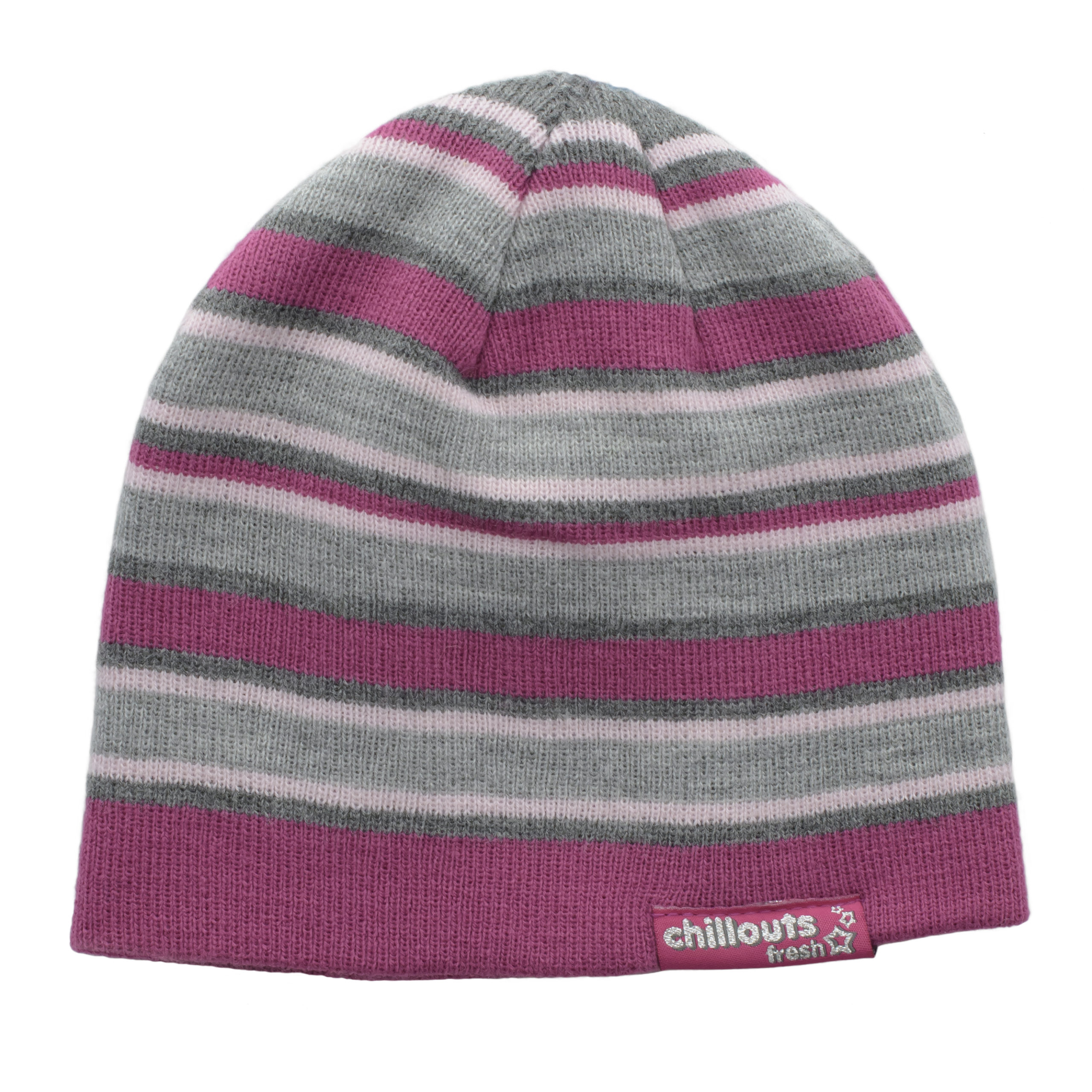 CHILLOUTS KID'S KNITTED BEANIE -PINK/GREY